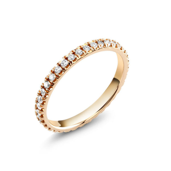 18 Karat Gold Diamond Eternity Micro Pave Wedding Band - OGI-LTD