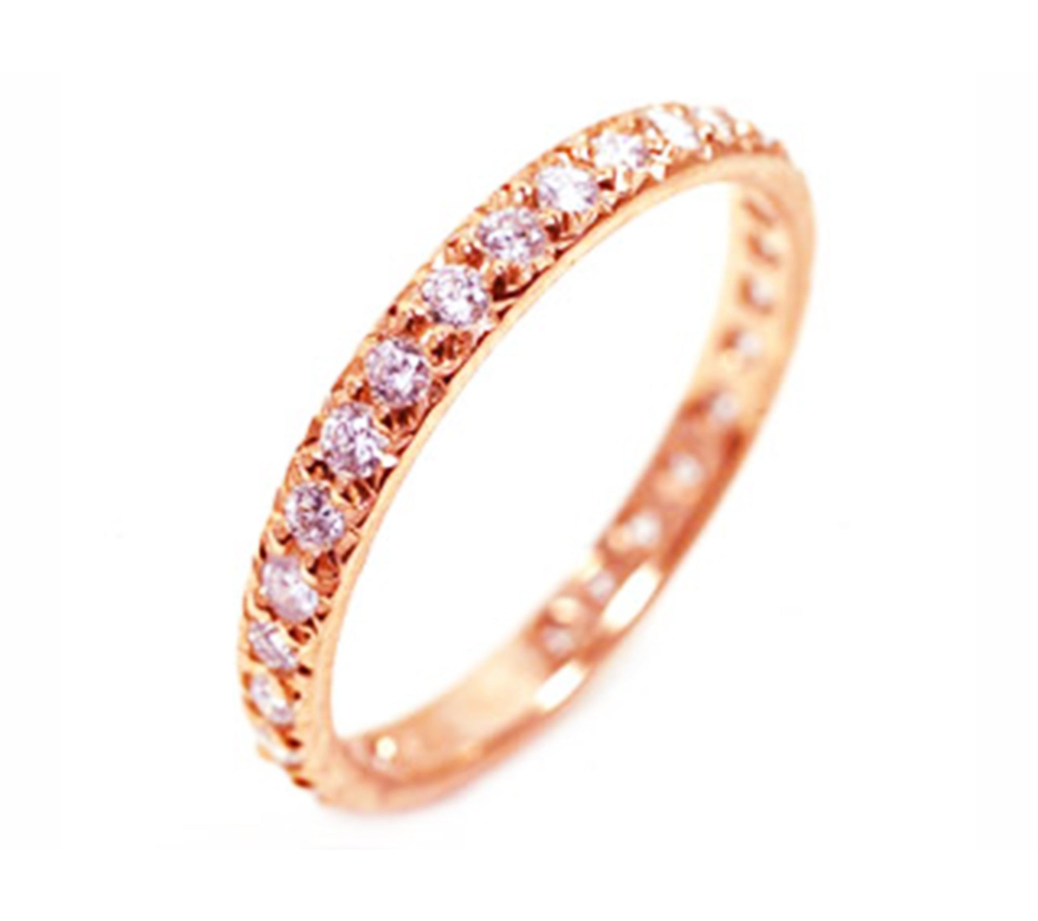 Pink Gold Eternity Wedding Band Prong Pave Set With Diamond