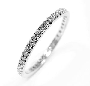 Diamond Half Circle Micro Pave Wedding Ring