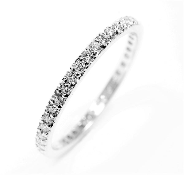 Diamond Half Circle Micro Pave Wedding Ring - OGI-LTD
