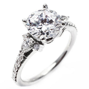 Handmade Diamond Engagement Ring Pear Shape Diamond Center Diamond not included - OGI-LTD