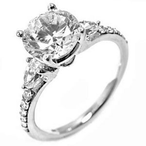 Handmade Diamond Engagement Ring Pear Shape Diamond Center Diamond not included