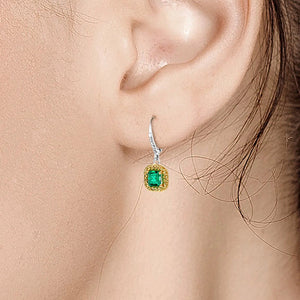14 Karat White Gold Emerald Cut Emerald Diamond Drop Hoop Cluster Earrings - OGI-LTD