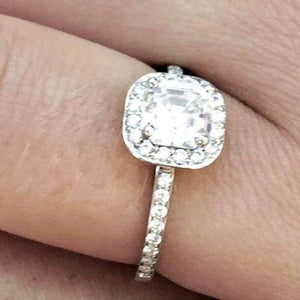 Diamond Halo Cushion Shape Engagement Ring - OGI-LTD