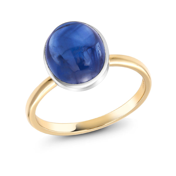 18 Karat Gold Fashion Ring with Ceylon Cabochon Sapphire - OGI-LTD