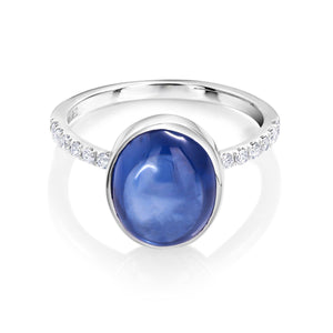 18 Karat Gold Ceylon Cabochon Sapphire and Diamond Cocktail Ring - OGI-LTD