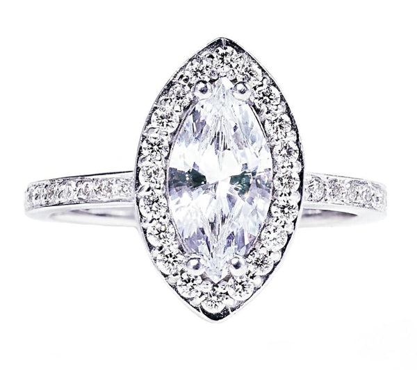18 Karat Gold Marquise Diamond Engagement Ring - OGI-LTD