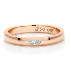18 Karat Gold One Marquise Diamond Minimalist Wedding Ring - OGI-LTD