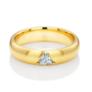 18 Karat Yellow Gold One Triangle Diamond Band - OGI-LTD