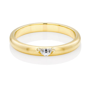 18 Karat Yellow Gold Half Moon Shape Diamond Band - OGI-LTD