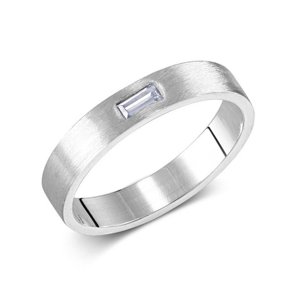 18k White Gold Baguette Diamond (1) Wedding Ring - OGI-LTD