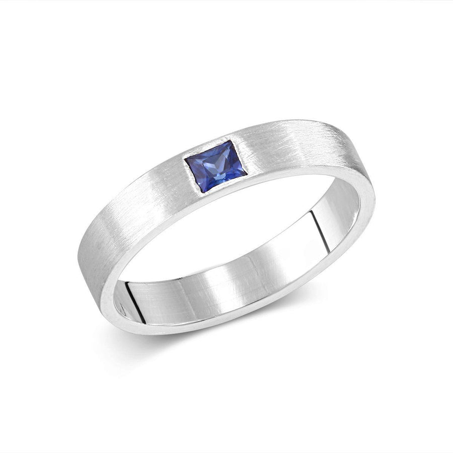 18k White Gold 3.5m Wide Band and 0.15 Carat Princess Cut Sapphire