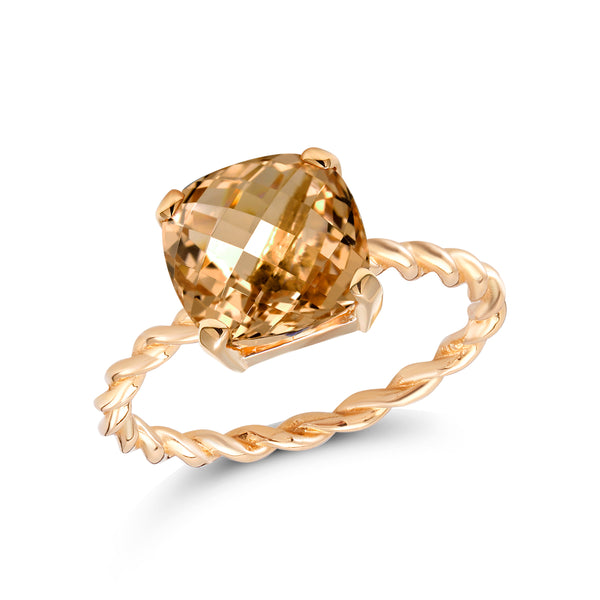 14 Karat Yellow Gold Morganite Braided Cocktail Ring