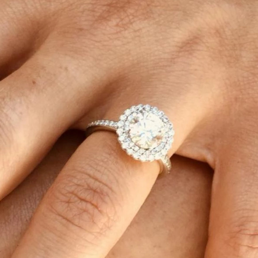 A White Gold Halo Engagement Ring Ready for a 2 carat Round Cut Diamond Center