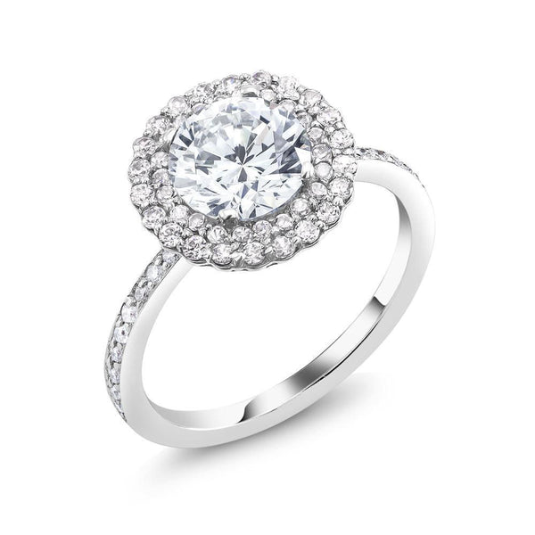 Platinum Two Carat Round Double Halo Diamond Engagement Ring - OGI-LTD