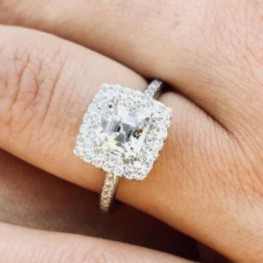 Double Halo Diamond Engagement Ring Ready for 1.50 Carat Diamond Center