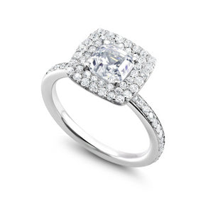 18 Karat Gold Double Halo Cushion Diamond Engagement Ring - OGI-LTD