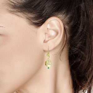 14 Karat Pear Shape Lemon Citrine Emerald Peridot Bezel Set Gold Drop Hoop Earrings - OGI-LTD