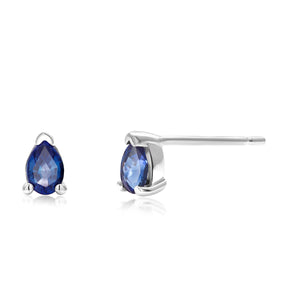 14 Karat White Gold Pear Shape Sapphire Stud Earrings - OGI-LTD