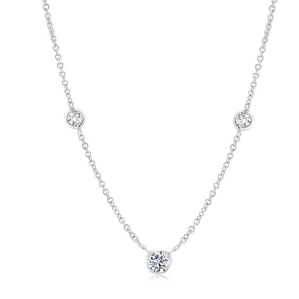 14 Karat White Gold Three Graduating Diamond Bezel-Set Necklace - OGI-LTD
