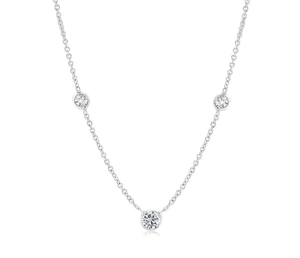 White Gold Three Graduating Diamond Bezel-Set Necklace Pendant - OGI-LTD