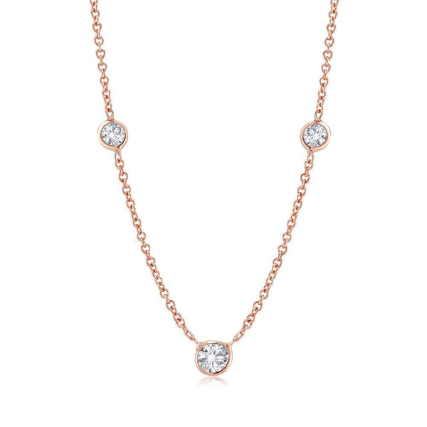 Rose Gold Three-Diamond Bezel Set Pendant Necklace Weighing 0.90 Carat - OGI-LTD