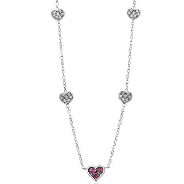 Heart Shaped Burma Ruby and Diamond Five Station Charm Gold Necklace Pendant
