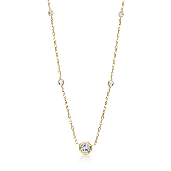 14 Karat Gold Five Graduating Diamond Bezel-Set Necklace - OGI-LTD