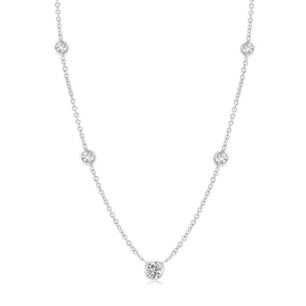 White Gold Five Graduating Diamond Bezel-Set Pendant Necklace - OGI-LTD