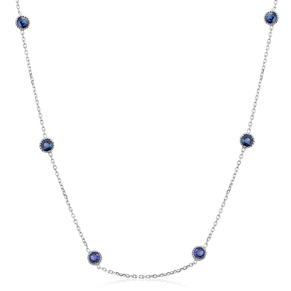 Six Bezel-Set Round Sapphire White Gold Necklace Weighing 1.05 Carat