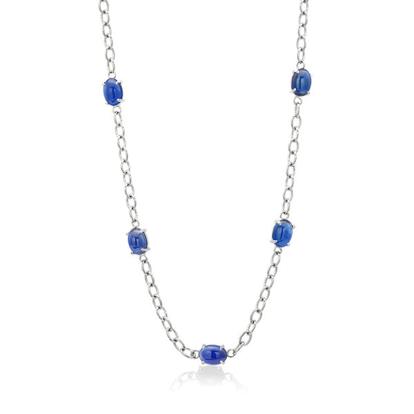 Eighteen Karat White Gold Five Cabochon Sapphires Necklace Pendant - OGI-LTD