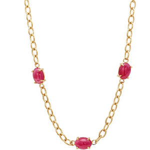 Eighteen Karat Yellow Gold Five Cabochon Ruby Necklace Pendant - OGI-LTD