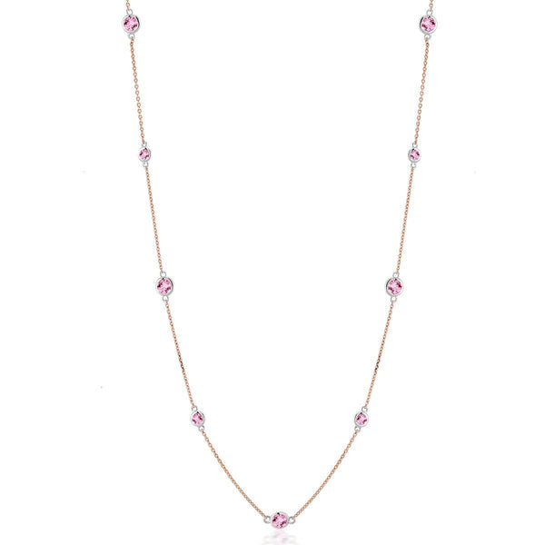 14 Karat Rose Gold Nine Pink Round Sapphire Bezel Set Pendant Necklace - OGI-LTD