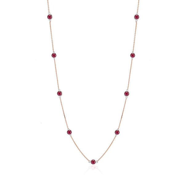 14 Karat Rose Gold Ruby Bezel Set Pendant Necklace Weighing Two Carat | OGI-LTD