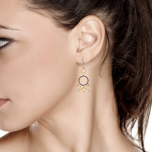 Yellow and White Gold Hoop Diamond Earrings with Blacken Circles - OGI-LTD
