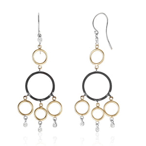 14 Karat Hoop Diamond Earrings with Blacken Circles - OGI-LTD