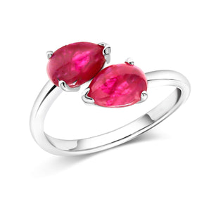 14 Karat White Gold Two Pear Shape Cabochon Ruby Facing Gold Cocktail Ring - OGI-LTD