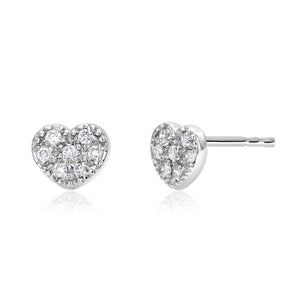14 karat Gold Diamond Heart Pair or Single Stud Earrings - OGI-LTD