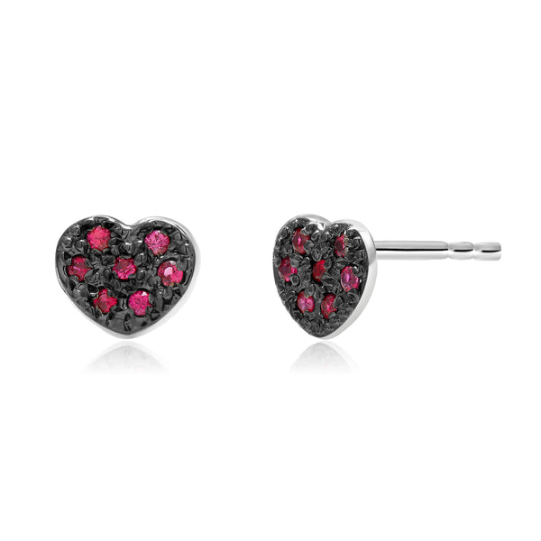 14 Karat White Gold Ruby Heart Shape Design Blacken Stud Earrings - OGI-LTD