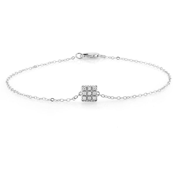 White Gold Square Shape Diamond Bracelet - OGI-LTD