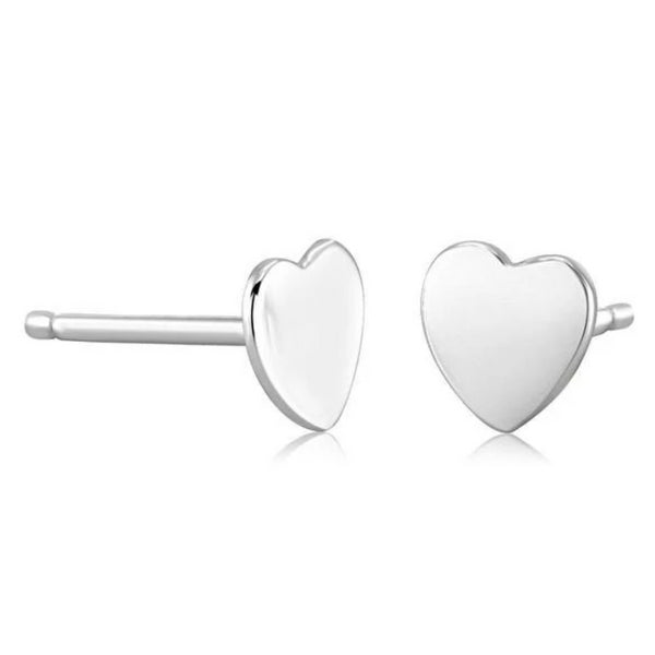 14 Karat White Gold Heart Shape Pair or Single Stud Earrings - OGI-LTD
