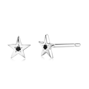14 Karat Gold Mini Black Diamond Star Pair  Stud Earrings - OGI-LTD