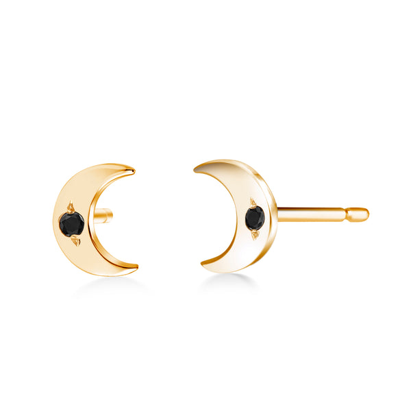 14 Karat Gold Black Diamond Half Moon Pair Stud Earrings - OGI-LTD