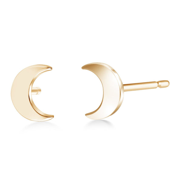 14 Karat Gold Half Moon Stud Earrings - OGI-LTD