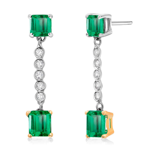 Colombian Emerald and Diamond Two-Tier Gold Hoop Earrings Weighing 2.50 Carat