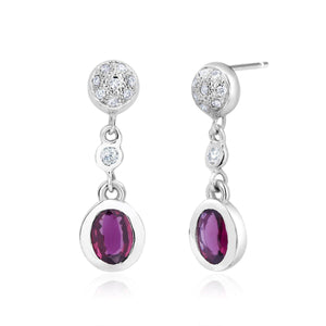 14 Karat Gold Ruby and Diamond Gold Drop Earrings - OGI-LTD