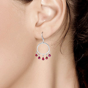 14 Karat White Gold Ruby and Diamond White Gold Double Circle Hoop Drop Earrings - OGI-LTD