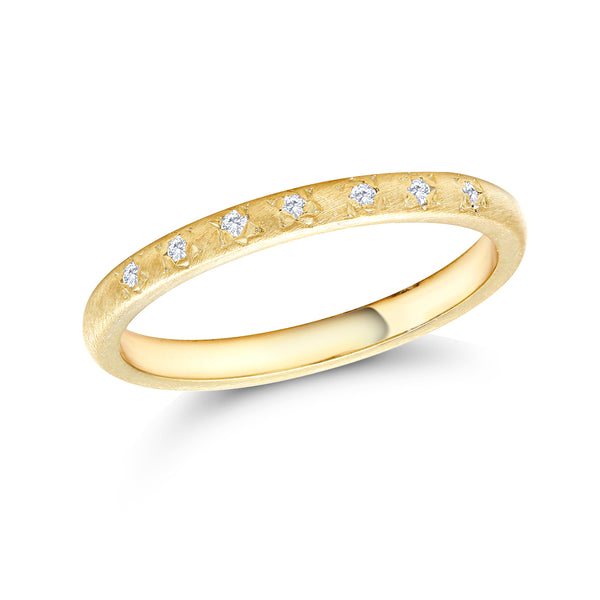 14 Karat Gold Seven Diamond Wedding Band - OGI-LTD