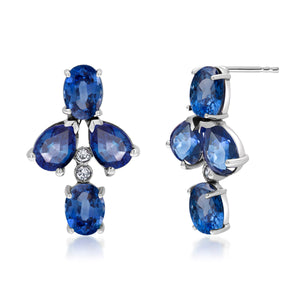 14 Karat Gold Sapphire Diamond Floret Cluster Earrings - OGI-LTD