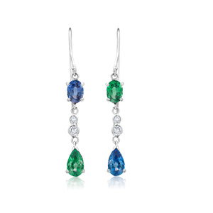 14 Karat Gold Pear Shape Oval Emerald Mirror Alternating Sapphire Diamond Hoop Drop Earrings - OGI-LTD